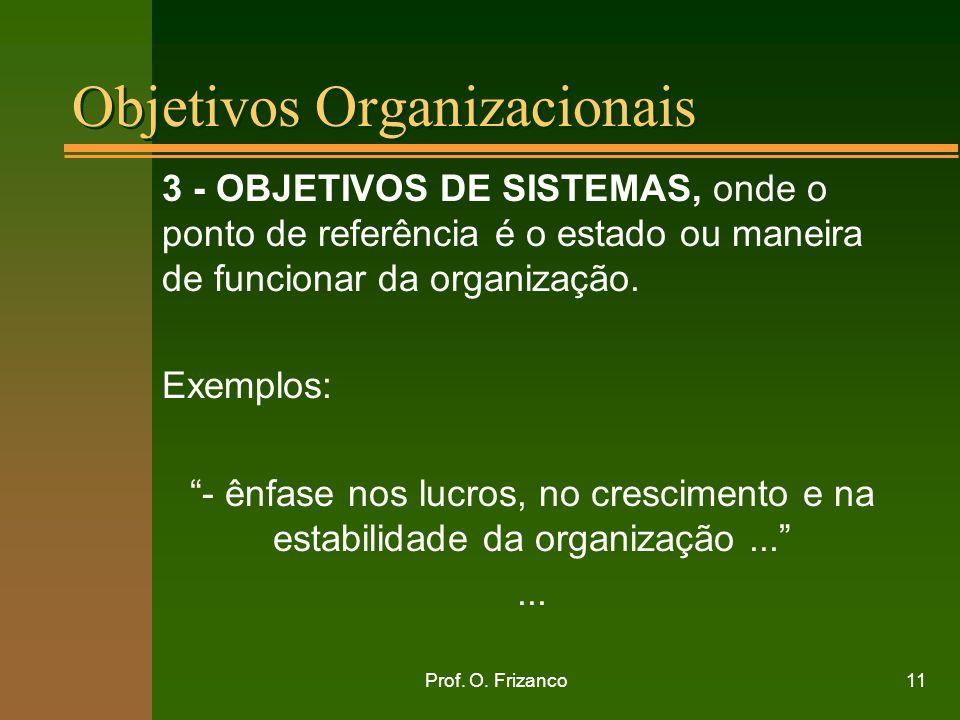 Prof. O. Frizanco11 Objetivos Organizacionais 3 - OBJETIVOS DE SISTEMAS, onde o ponto de referência é o estado ou maneira de funcionar da organização.
