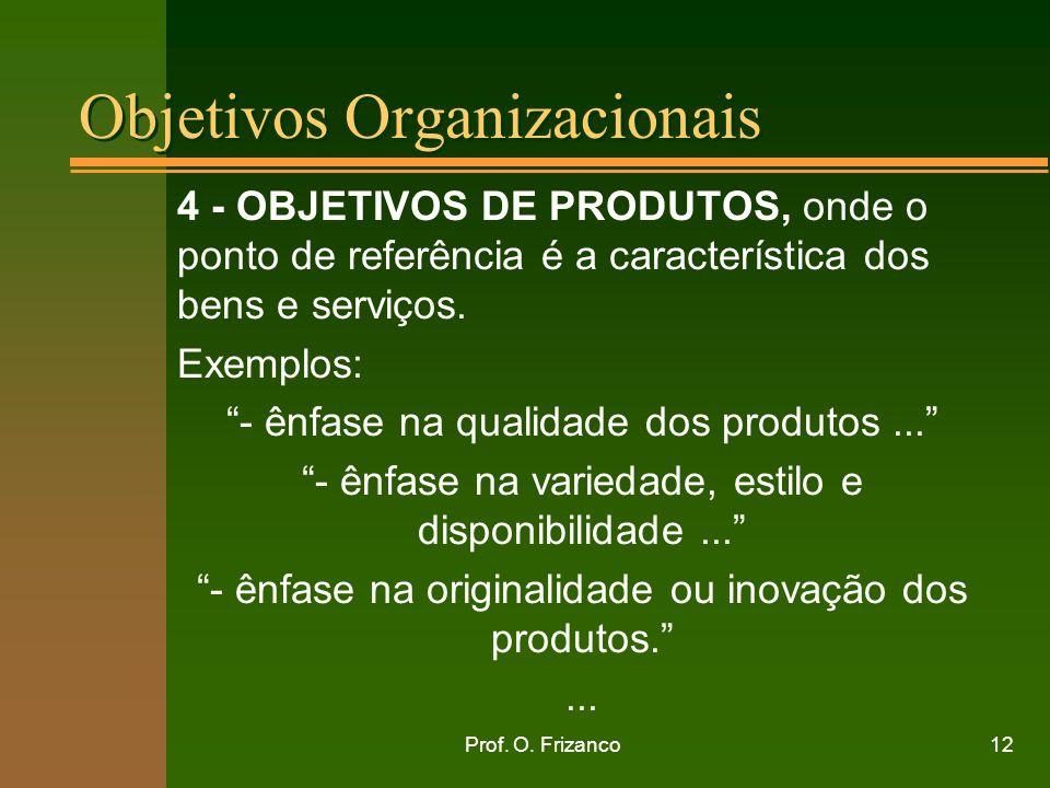 Prof. O. Frizanco12 Objetivos Organizacionais 4 - OBJETIVOS DE PRODUTOS, onde o ponto de referência é a característica dos bens e serviços. Exemplos: