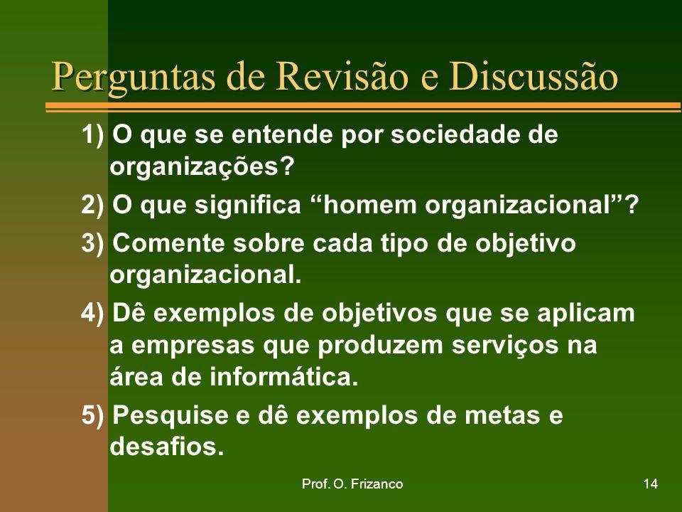 Prof. O. Frizanco14 Perguntas de Revisão e Discussão 1) O que se entende por sociedade de organizações? 2) O que significa homem organizacional? 3) Co