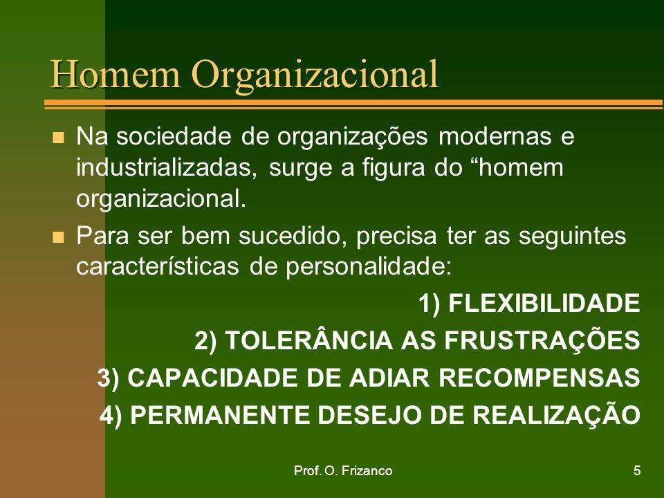 Prof. O. Frizanco5 Homem Organizacional n Na sociedade de organizações modernas e industrializadas, surge a figura do homem organizacional. n Para ser