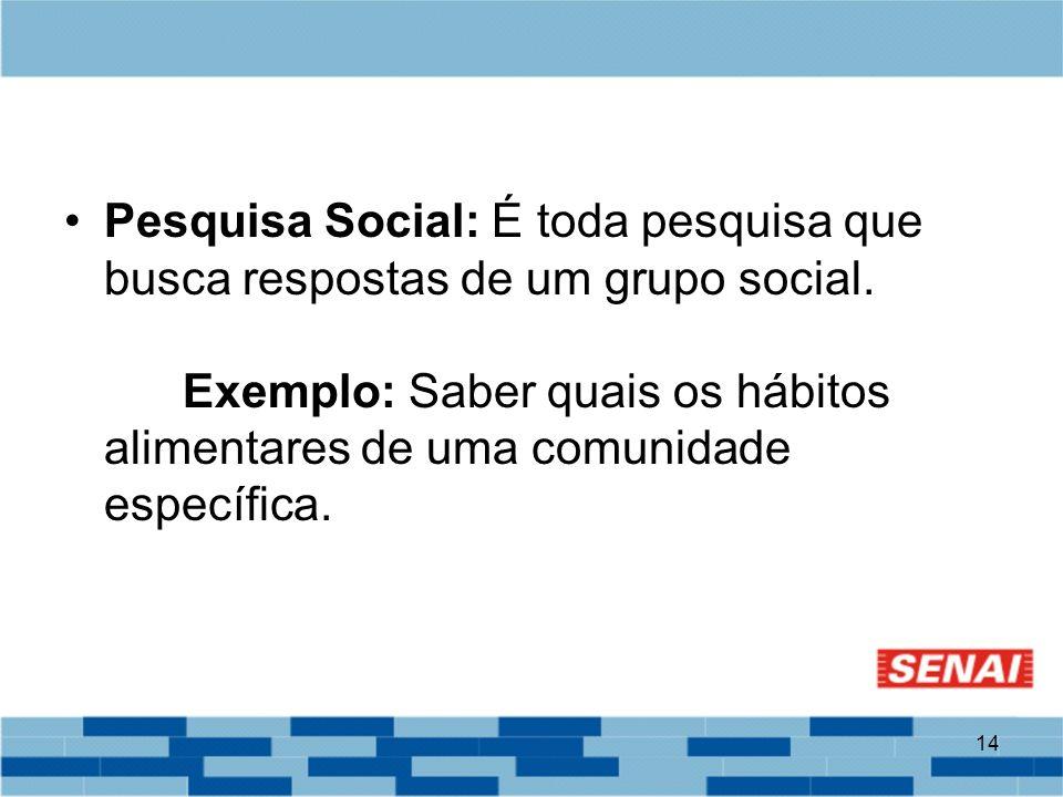 14 Pesquisa Social: É toda pesquisa que busca respostas de um grupo social. Exemplo: Saber quais os hábitos alimentares de uma comunidade específica.