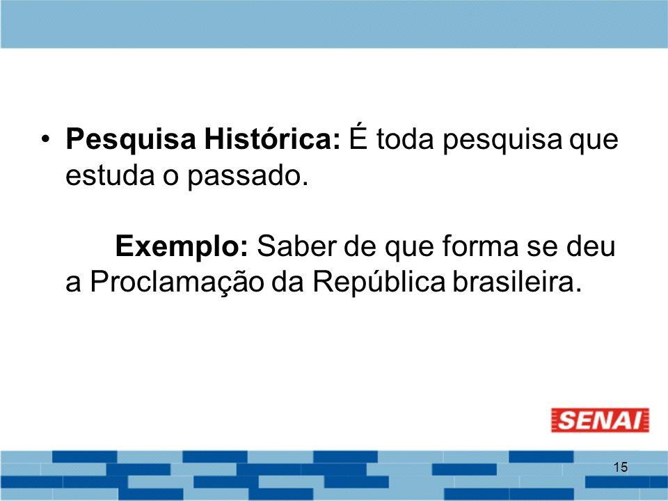 15 Pesquisa Histórica: É toda pesquisa que estuda o passado. Exemplo: Saber de que forma se deu a Proclamação da República brasileira.