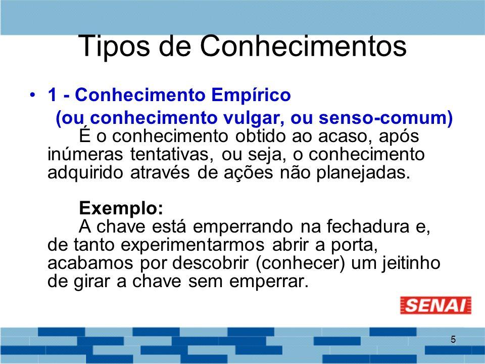 5 Tipos de Conhecimentos 1 - Conhecimento Empírico (ou conhecimento vulgar, ou senso-comum) É o conhecimento obtido ao acaso, após inúmeras tentativas