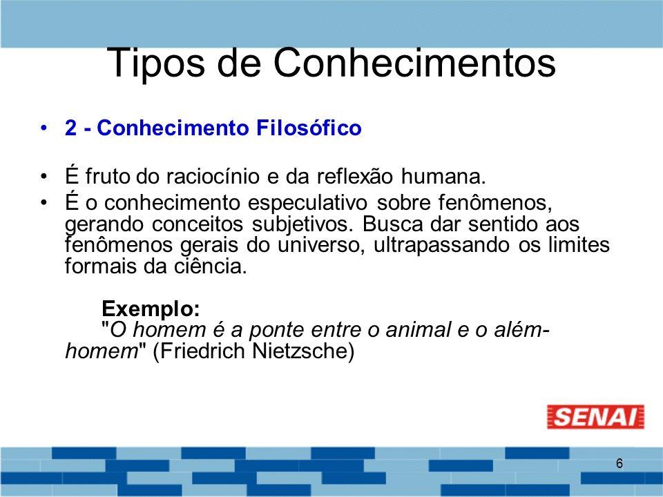 6 Tipos de Conhecimentos 2 - Conhecimento Filosófico É fruto do raciocínio e da reflexão humana. É o conhecimento especulativo sobre fenômenos, gerand
