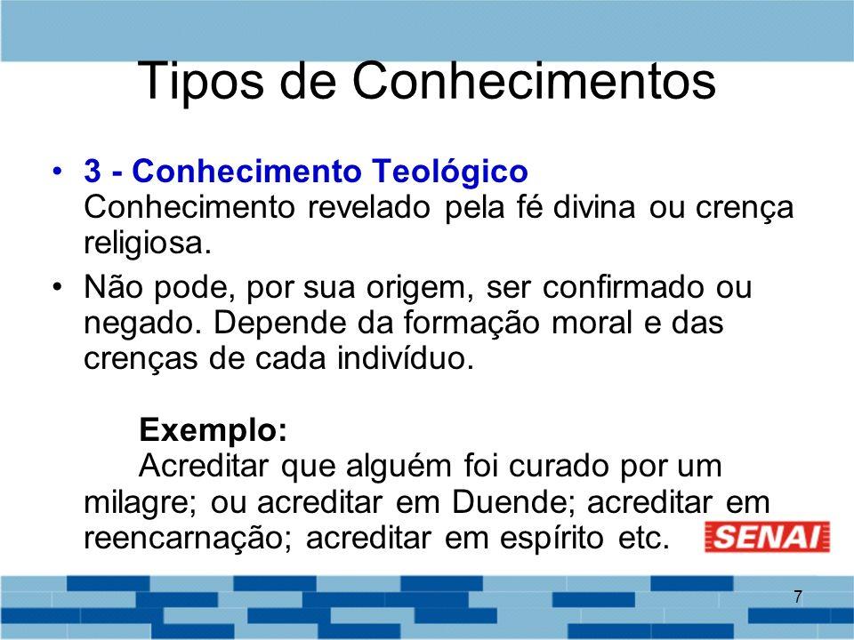 7 Tipos de Conhecimentos 3 - Conhecimento Teológico Conhecimento revelado pela fé divina ou crença religiosa. Não pode, por sua origem, ser confirmado