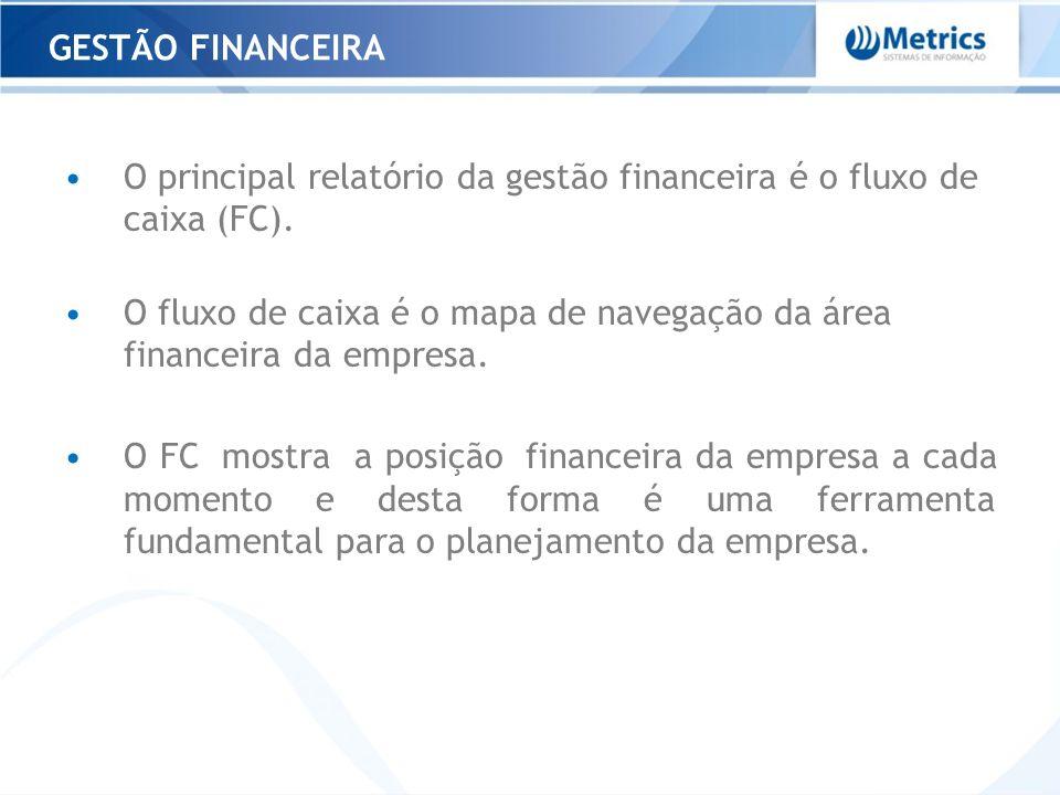 O principal relatório da gestão financeira é o fluxo de caixa (FC). O fluxo de caixa é o mapa de navegação da área financeira da empresa. O FC mostra