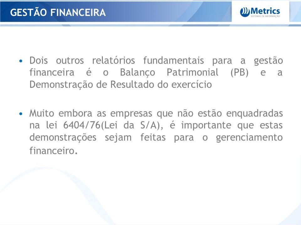 Dois outros relatórios fundamentais para a gestão financeira é o Balanço Patrimonial (PB) e a Demonstração de Resultado do exercício Muito embora as e
