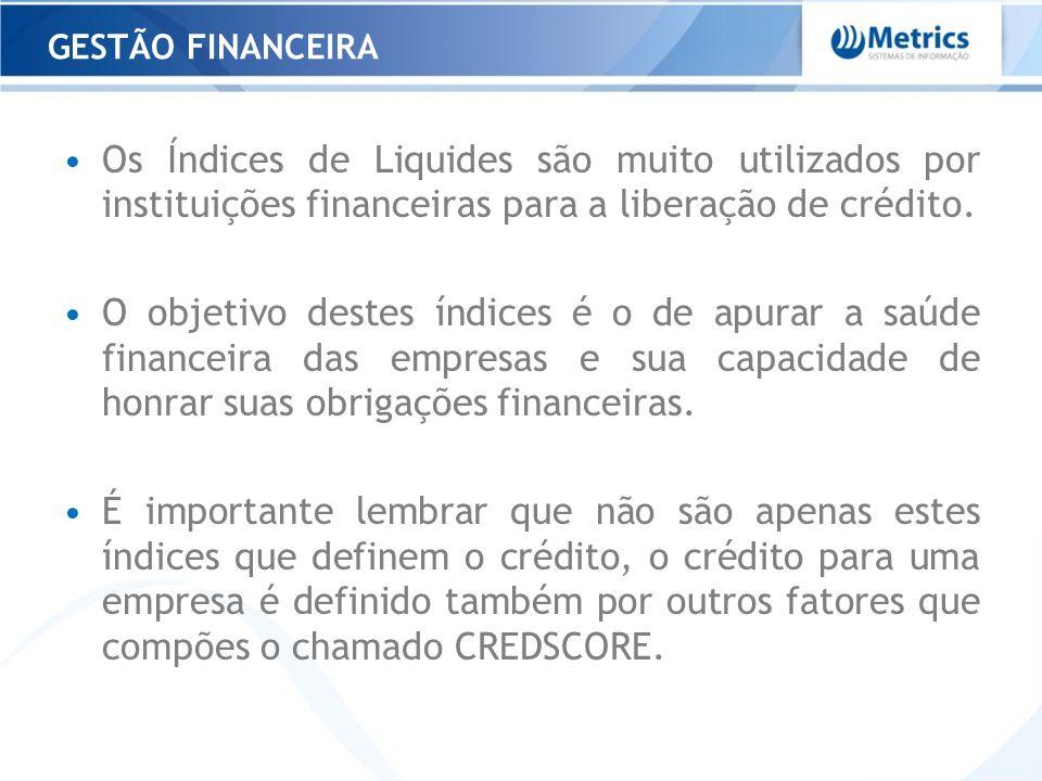 Os Índices de Liquides são muito utilizados por instituições financeiras para a liberação de crédito. O objetivo destes índices é o de apurar a saúde