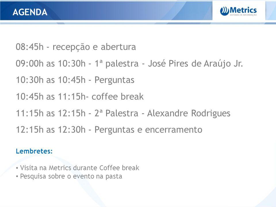 AGENDA 08:45h - recepção e abertura 09:00h as 10:30h - 1ª palestra - José Pires de Araújo Jr. 10:30h as 10:45h - Perguntas 10:45h as 11:15h- coffee br