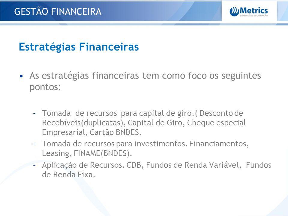 GESTÃO FINANCEIRA Estratégias Financeiras As estratégias financeiras tem como foco os seguintes pontos: –Tomada de recursos para capital de giro.( Des
