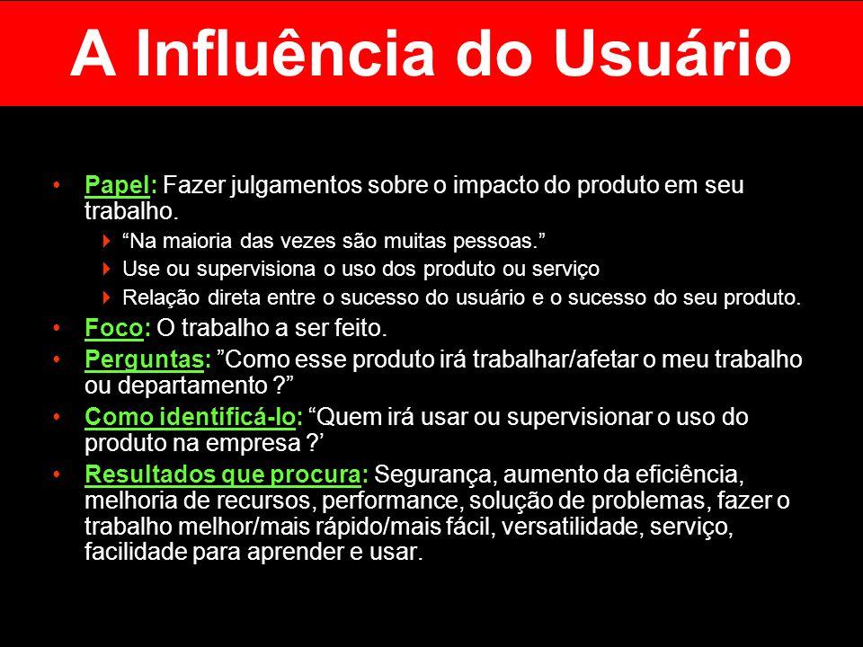 A Influência do Usuário Papel: Fazer julgamentos sobre o impacto do produto em seu trabalho. Na maioria das vezes são muitas pessoas. Use ou supervisi