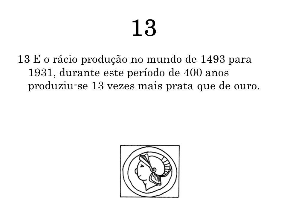 13 13 E o rácio produção no mundo de 1493 para 1931, durante este período de 400 anos produziu-se 13 vezes mais prata que de ouro.