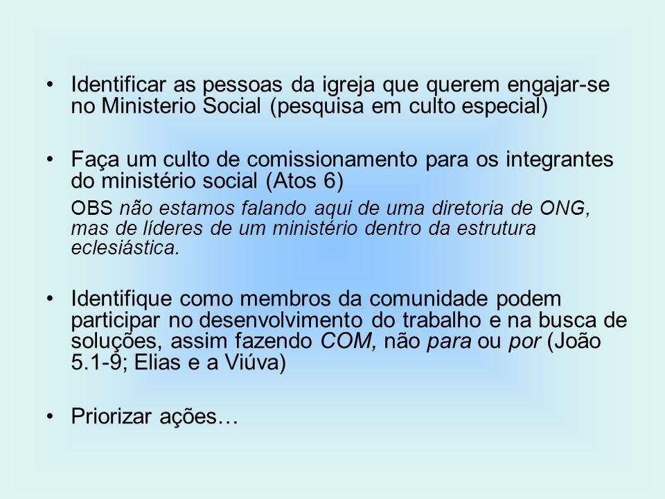 Identificar as pessoas da igreja que querem engajar-se no Ministerio Social (pesquisa em culto especial) Faça um culto de comissionamento para os inte