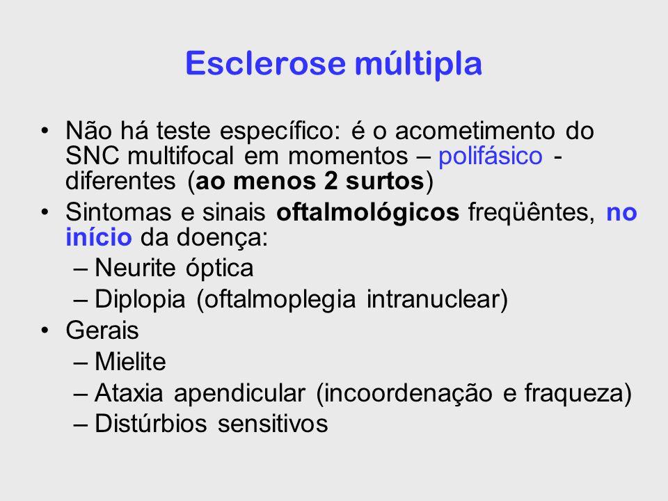 Esclerose múltipla Não há teste específico: é o acometimento do SNC multifocal em momentos – polifásico - diferentes (ao menos 2 surtos) Sintomas e si