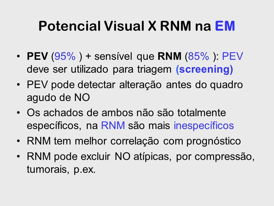 Potencial Visual X RNM na EM PEV (95% ) + sensível que RNM (85% ): PEV deve ser utilizado para triagem (screening) PEV pode detectar alteração antes d