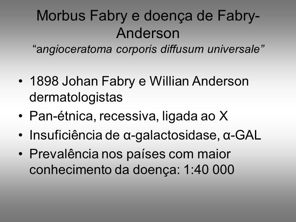Morbus Fabry e doença de Fabry- Anderson angioceratoma corporis diffusum universale 1898 Johan Fabry e Willian Anderson dermatologistas Pan-étnica, re