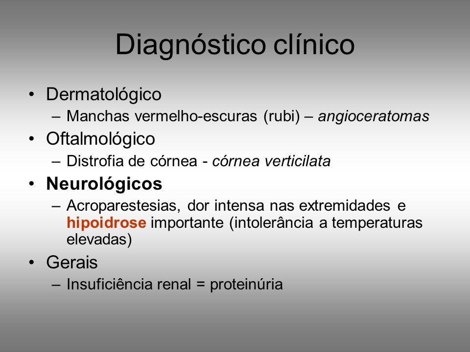 Manchas vermelho-escuras (rubi) – angioceratomas peri-umbelicais