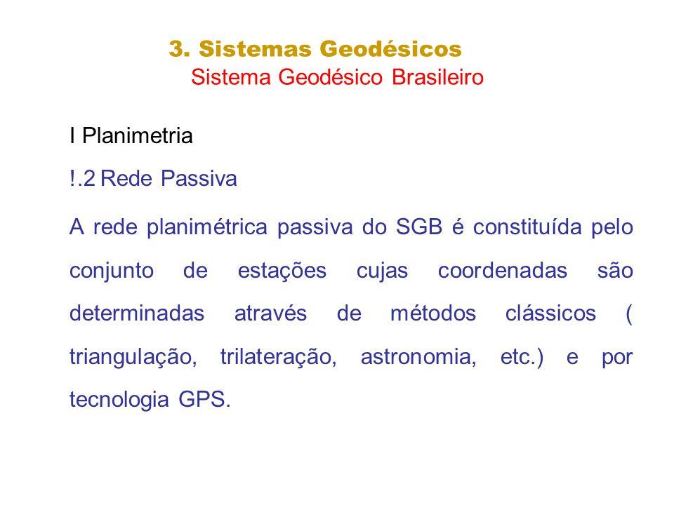 3. Sistemas Geodésicos Sistema Geodésico Brasileiro I Planimetria !.2 Rede Passiva A rede planimétrica passiva do SGB é constituída pelo conjunto de e