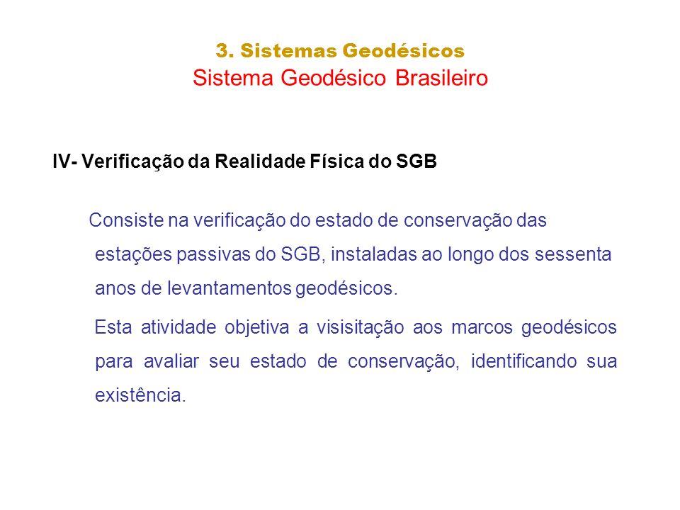 3. Sistemas Geodésicos Sistema Geodésico Brasileiro IV- Verificação da Realidade Física do SGB Consiste na verificação do estado de conservação das es