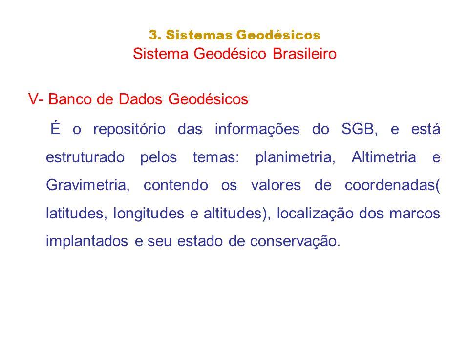 3. Sistemas Geodésicos Sistema Geodésico Brasileiro V- Banco de Dados Geodésicos É o repositório das informações do SGB, e está estruturado pelos tema