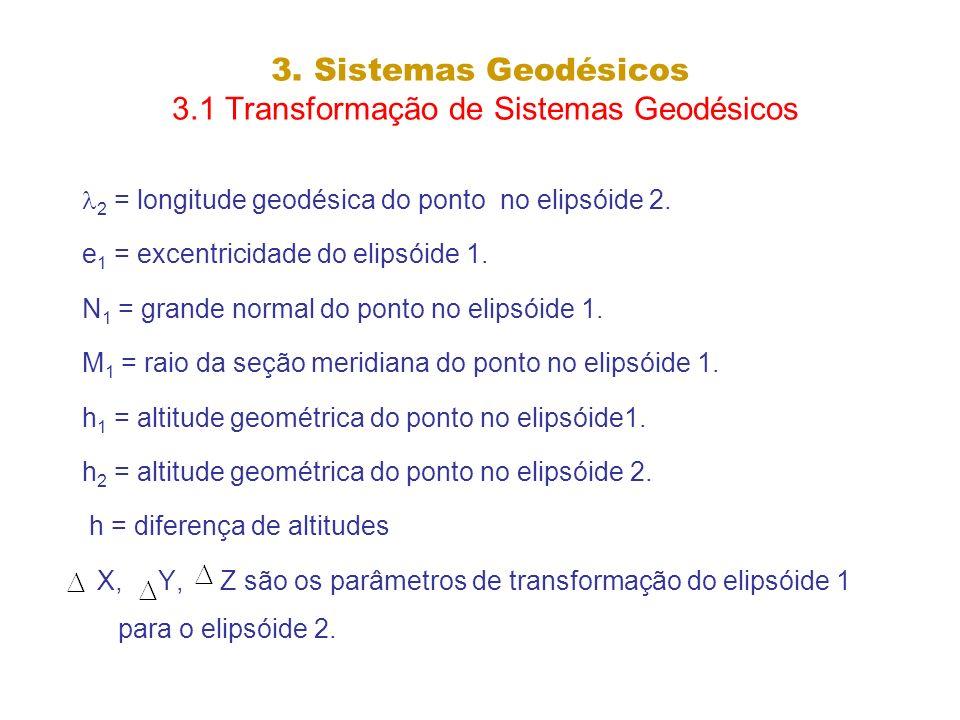 3. Sistemas Geodésicos 3.1 Transformação de Sistemas Geodésicos 2 = longitude geodésica do ponto no elipsóide 2. e 1 = excentricidade do elipsóide 1.