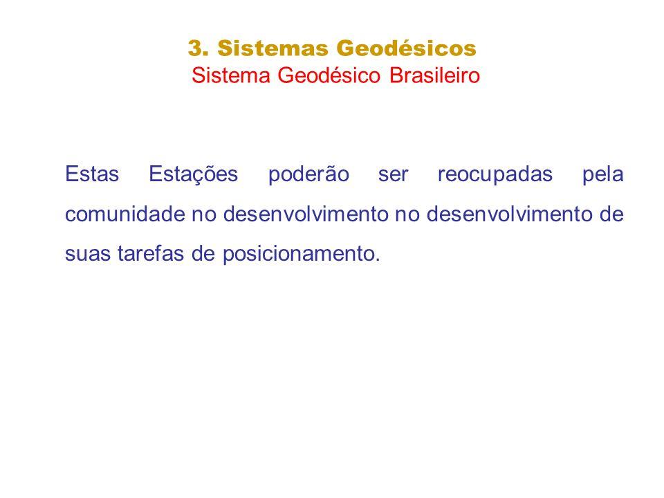 3. Sistemas Geodésicos Sistema Geodésico Brasileiro Estas Estações poderão ser reocupadas pela comunidade no desenvolvimento no desenvolvimento de sua