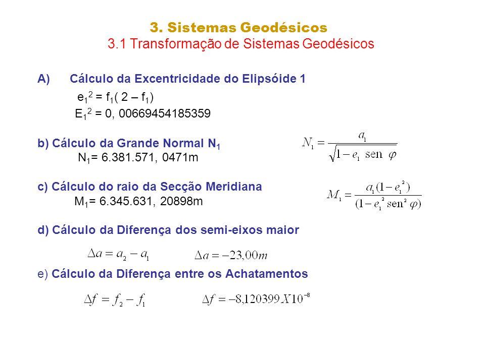 3. Sistemas Geodésicos 3.1 Transformação de Sistemas Geodésicos A)Cálculo da Excentricidade do Elipsóide 1 e 1 2 = f 1 ( 2 – f 1 ) E 1 2 = 0, 00669454