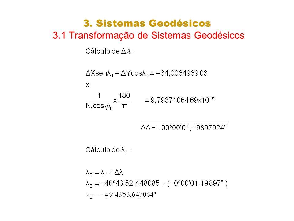 3. Sistemas Geodésicos 3.1 Transformação de Sistemas Geodésicos