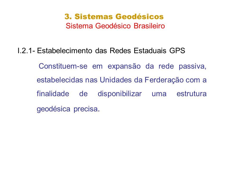 3. Sistemas Geodésicos Sistema Geodésico Brasileiro I.2.1- Estabelecimento das Redes Estaduais GPS Constituem-se em expansão da rede passiva, estabele