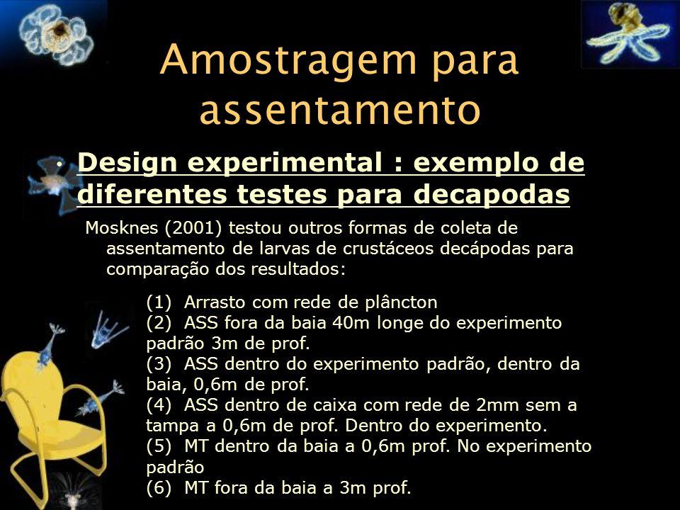 Amostragem para assentamento Design experimental : exemplo de diferentes testes para decapodas Mosknes (2001) testou outros formas de coleta de assent