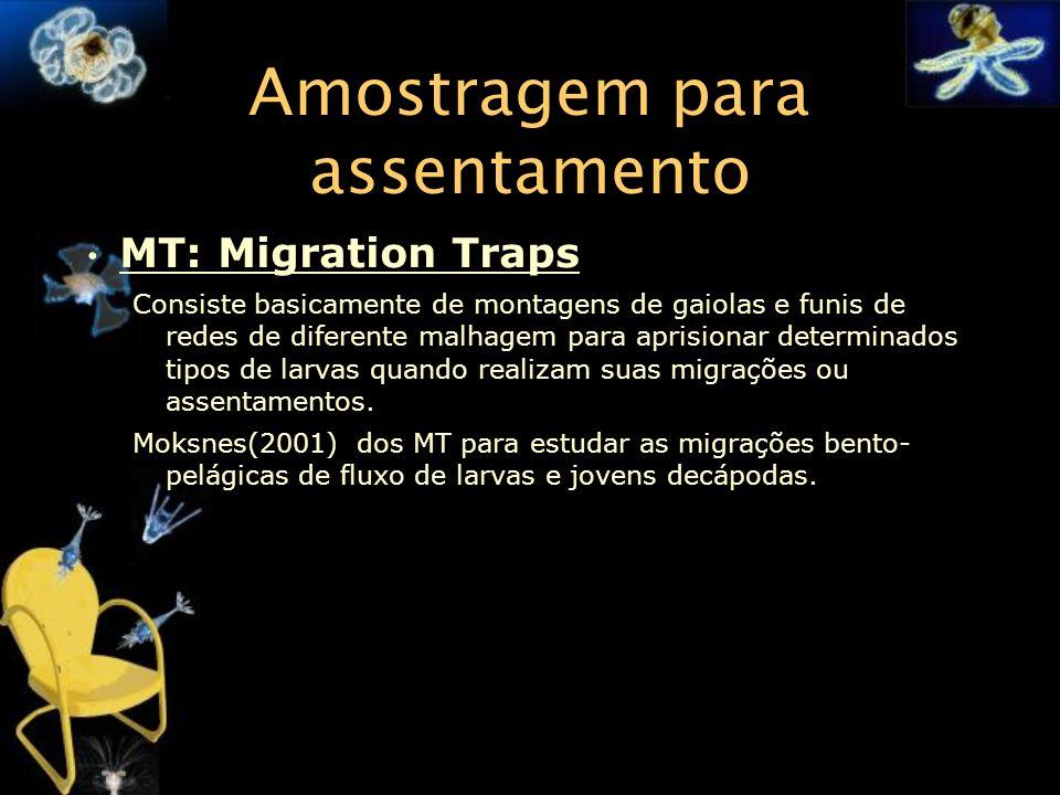Amostragem para assentamento MT: Migration Traps Consiste basicamente de montagens de gaiolas e funis de redes de diferente malhagem para aprisionar d