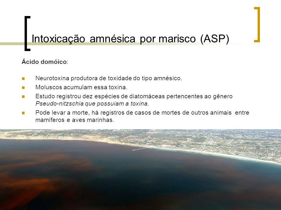 Intoxicação amnésica por marisco (ASP) Ácido domóico: Neurotoxina produtora de toxidade do tipo amnésico. Moluscos acumulam essa toxina. Estudo regist