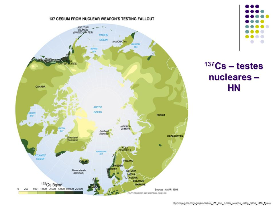 137 Cs – testes nucleares – HN http://maps.grida.no/go/graphic/cesium_137_from_nuclear_weapon_testing_fallout_1995_figures