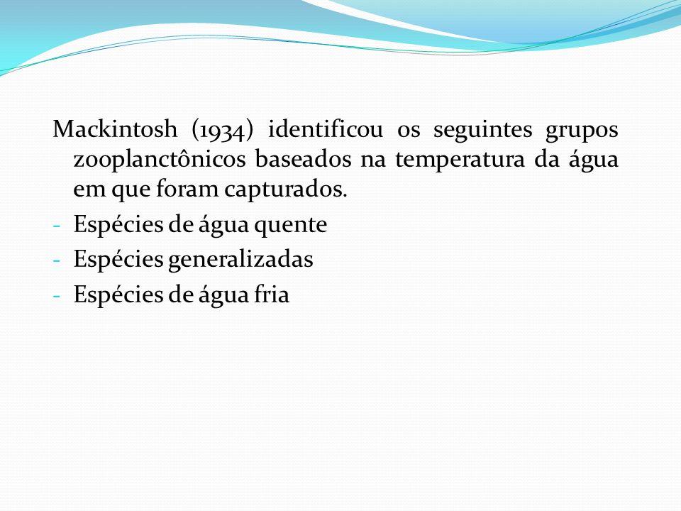 Mackintosh (1934) identificou os seguintes grupos zooplanctônicos baseados na temperatura da água em que foram capturados. - Espécies de água quente -