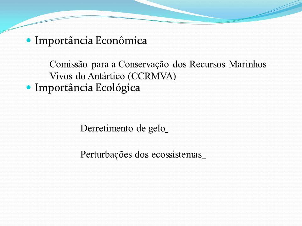 Importância Econômica Importância Ecológica Comissão para a Conservação dos Recursos Marinhos Vivos do Antártico (CCRMVA) Derretimento de gelo Perturb