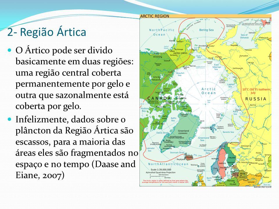 2- Região Ártica O Ártico pode ser divido basicamente em duas regiões: uma região central coberta permanentemente por gelo e outra que sazonalmente es