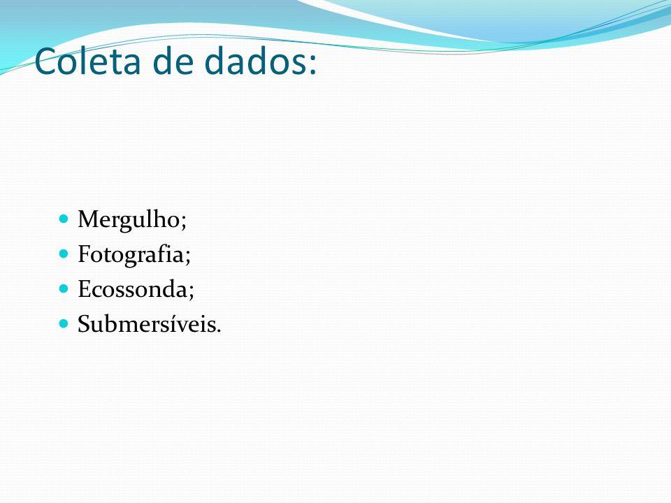 Coleta de dados: Mergulho; Fotografia; Ecossonda; Submersíveis.