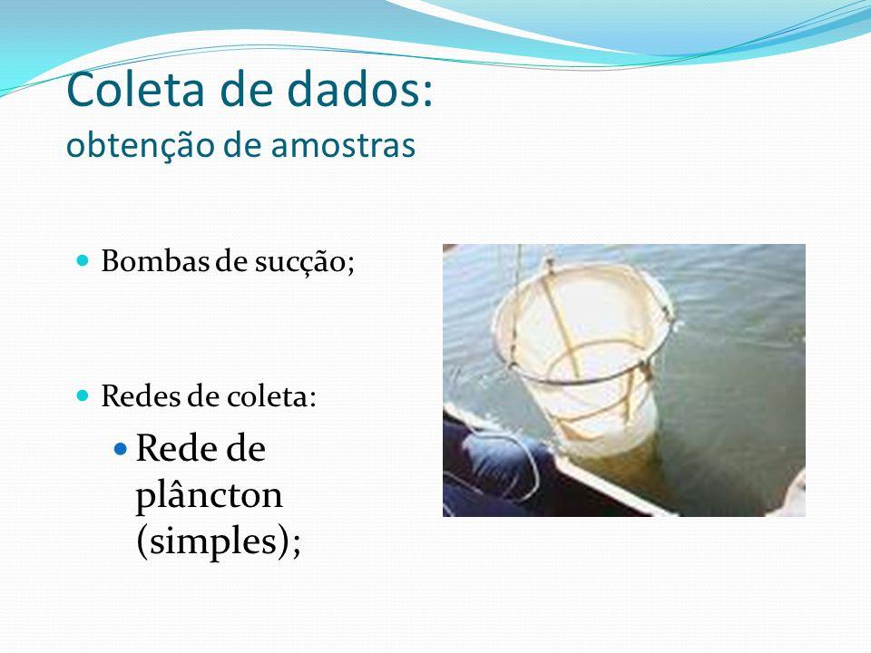 Coleta de dados: obtenção de amostras Bombas de sucção; Redes de coleta: Rede de plâncton (simples);