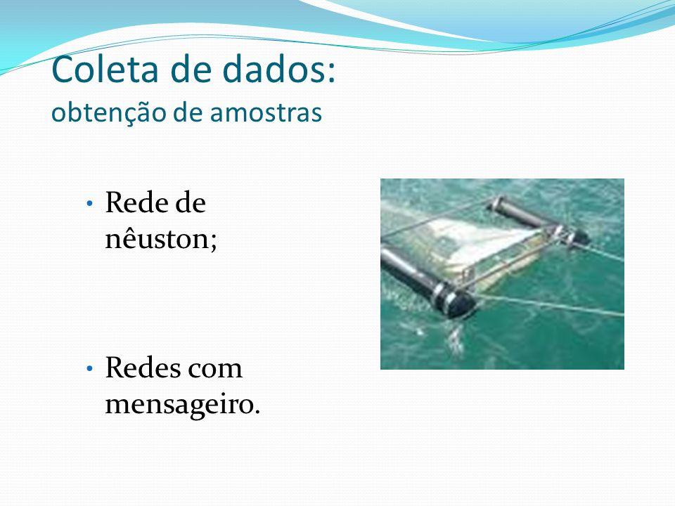 Coleta de dados: obtenção de amostras Rede de nêuston; Redes com mensageiro.