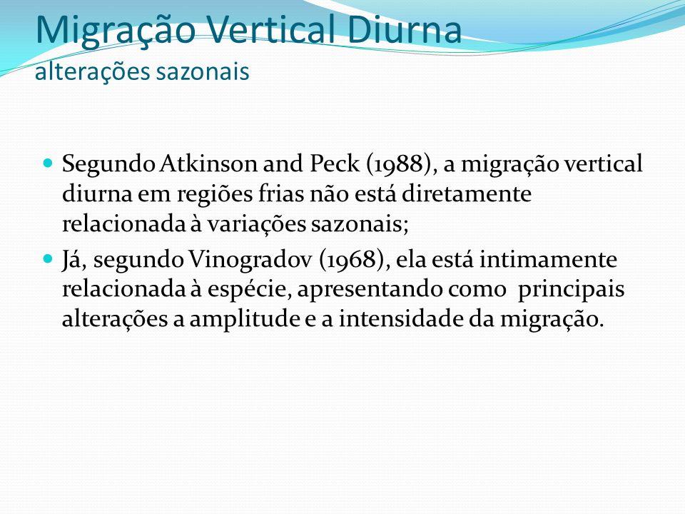 Migração Vertical Diurna alterações sazonais Segundo Atkinson and Peck (1988), a migração vertical diurna em regiões frias não está diretamente relaci