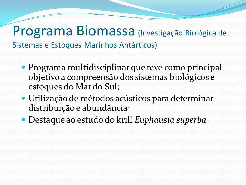 Programa Biomassa (Investigação Biológica de Sistemas e Estoques Marinhos Antárticos) Programa multidisciplinar que teve como principal objetivo a com