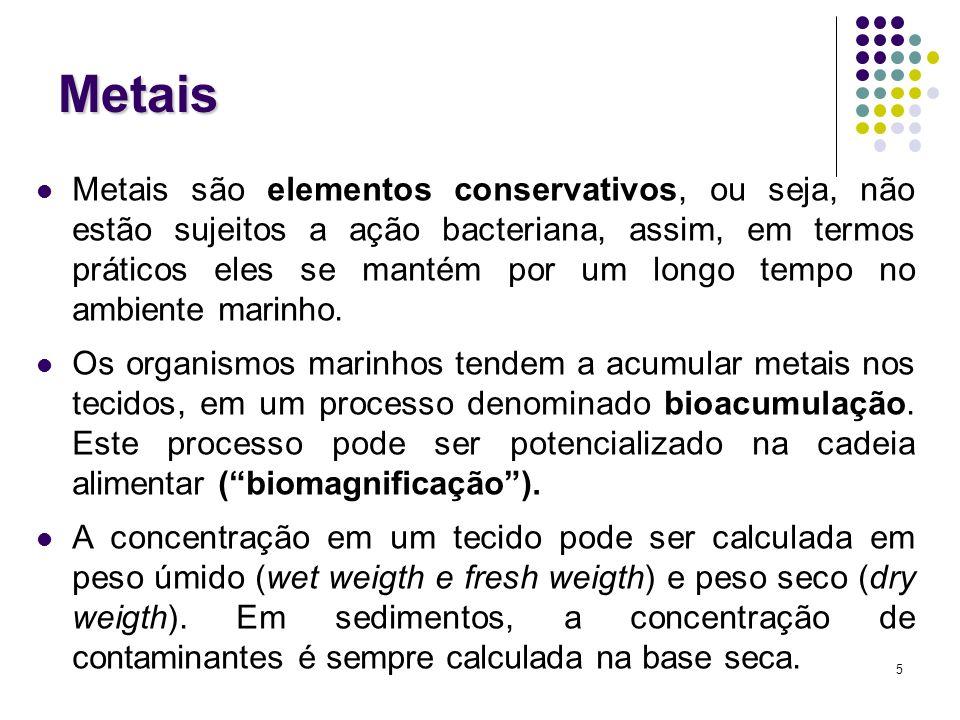 56 Fator de concentração (FC) Fator de concentração (FC): FC=[M (a) ]/[M (r) ] [M (a) ]: concentração do metal M na amostra [M (r) ]: concentração de referência deste metal (e.