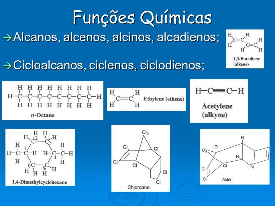 Funções Químicas Alcanos, alcenos, alcinos, alcadienos; Alcanos, alcenos, alcinos, alcadienos; Cicloalcanos, ciclenos, ciclodienos; Cicloalcanos, cicl