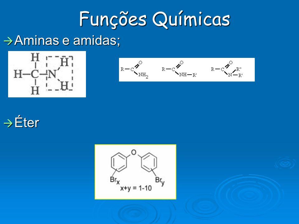 Funções Químicas Aminas e amidas; Aminas e amidas; Éter Éter