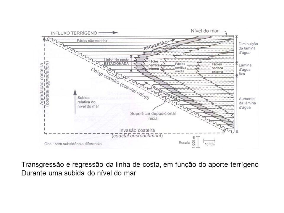 Transgressão e regressão da linha de costa, em função do aporte terrígeno Durante uma subida do nível do mar