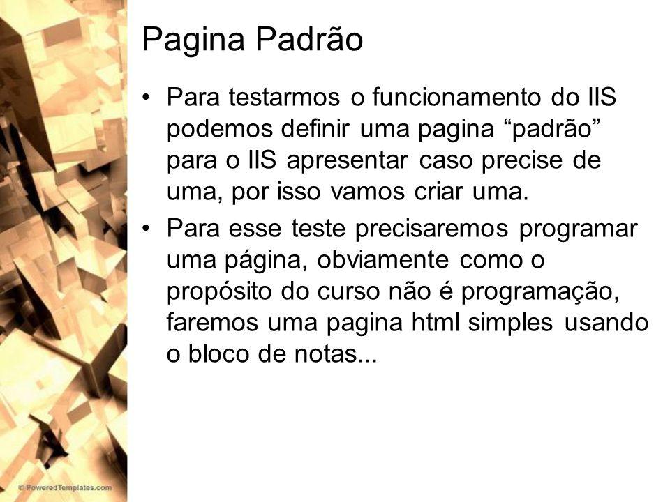 Pagina Padrão Para testarmos o funcionamento do IIS podemos definir uma pagina padrão para o IIS apresentar caso precise de uma, por isso vamos criar