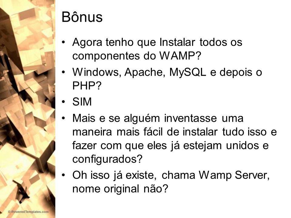 Bônus Agora tenho que Instalar todos os componentes do WAMP? Windows, Apache, MySQL e depois o PHP? SIM Mais e se alguém inventasse uma maneira mais f