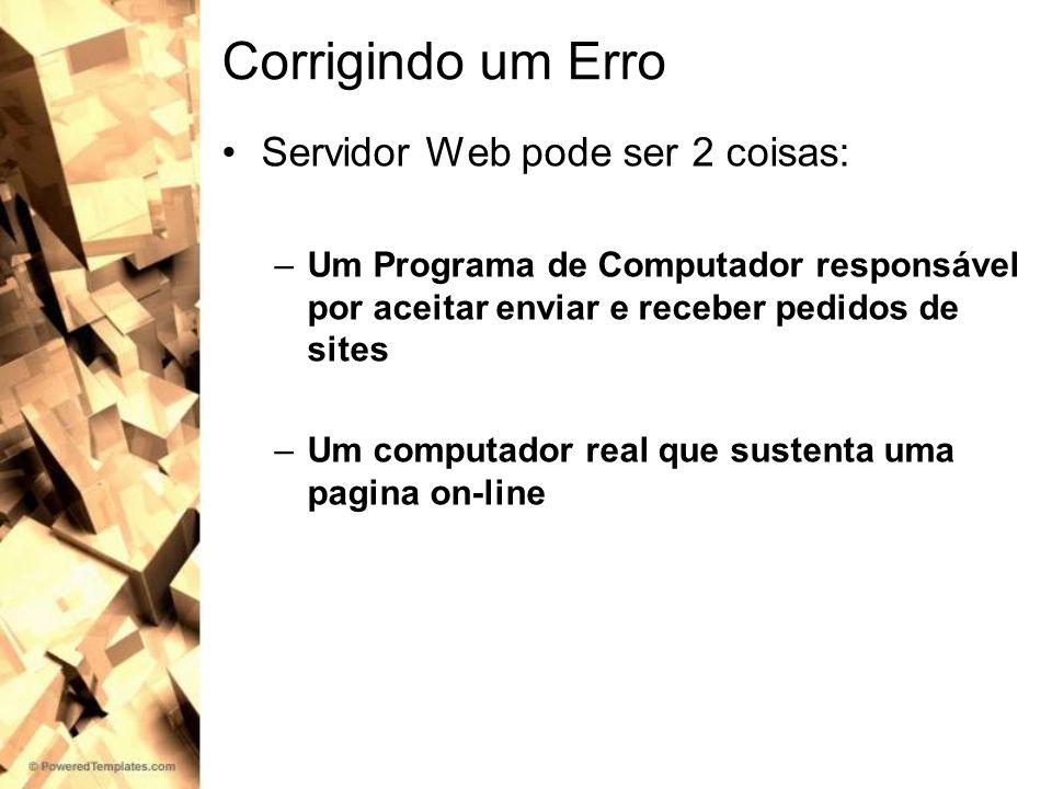 Corrigindo um Erro Servidor Web pode ser 2 coisas: –Um Programa de Computador responsável por aceitar enviar e receber pedidos de sites –Um computador