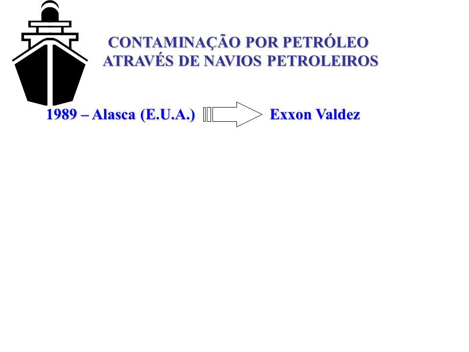 CONTAMINAÇÃO POR PETRÓLEO ATRAVÉS DE NAVIOS PETROLEIROS 1989 – Alasca (E.U.A.) Exxon Valdez
