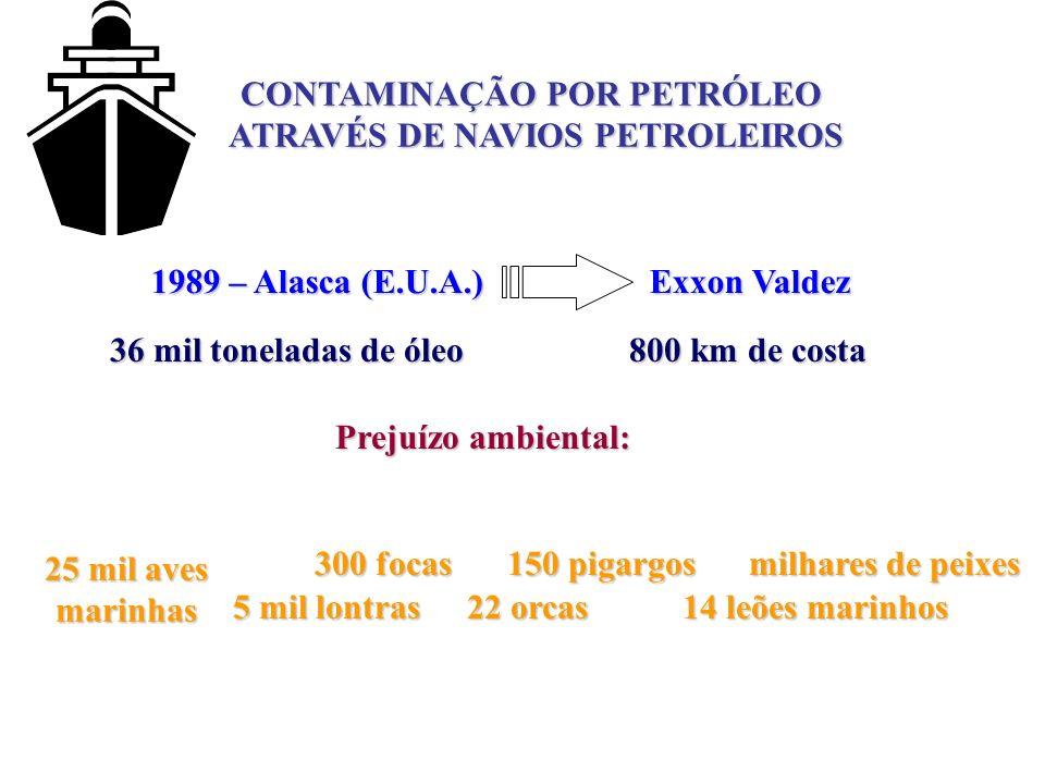 CONTAMINAÇÃO POR PETRÓLEO ATRAVÉS DE NAVIOS PETROLEIROS 1989 – Alasca (E.U.A.) Exxon Valdez 36 mil toneladas de óleo 800 km de costa 25 mil aves marin